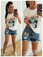 Женский стильный джинсовый костюм с Кошечкой футболка+шорты 2 цвета, фото 1
