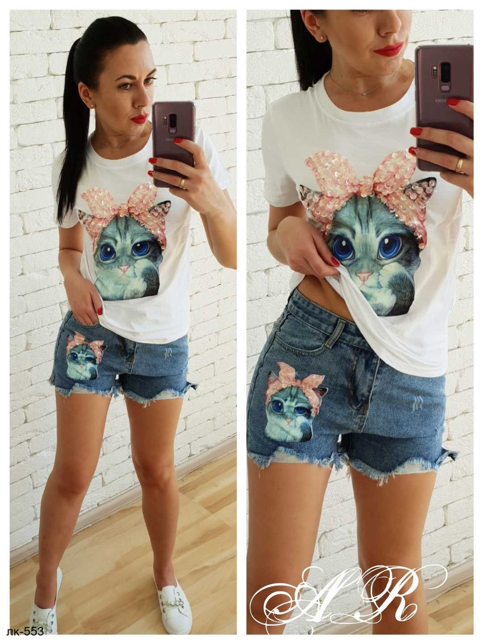 Женский стильный джинсовый костюм с Кошечкой футболка+шорты 2 цвета