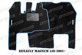 Renault Magnum 440 2001- ворсовые коврики (серый-синий) ЛЮКС