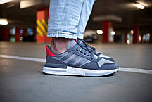 Мужские кроссовки Adidas ZX 500 RM Grey Four/ Ftw White/ Scarlet ( Реплика ) 44 размер, фото 3