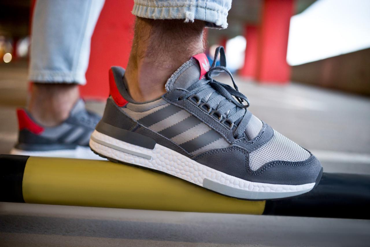 Мужские кроссовки Adidas ZX 500 RM Grey Four/ Ftw White/ Scarlet ( Реплика ) 44 размер
