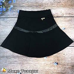 Классическая юбка чёрного цвета для девочек Размеры: 116,128,140,152,164 см (8623)