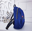 Женский рюкзак синего цвета, полиэстер+люрекс+напыление+эко-кожа, под бренд, фото 3