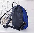 Женский рюкзак синего цвета, полиэстер+люрекс+напыление+эко-кожа, под бренд, фото 4