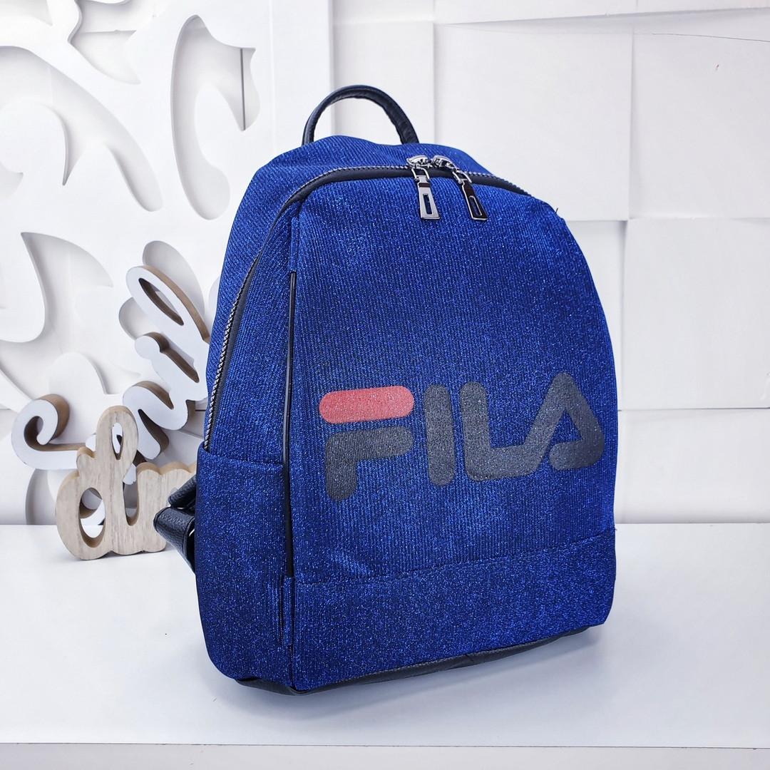 Женский рюкзак синего цвета, полиэстер+люрекс+напыление+эко-кожа, под бренд