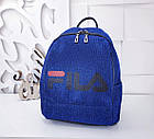 Женский рюкзак синего цвета, полиэстер+люрекс+напыление+эко-кожа, под бренд, фото 6