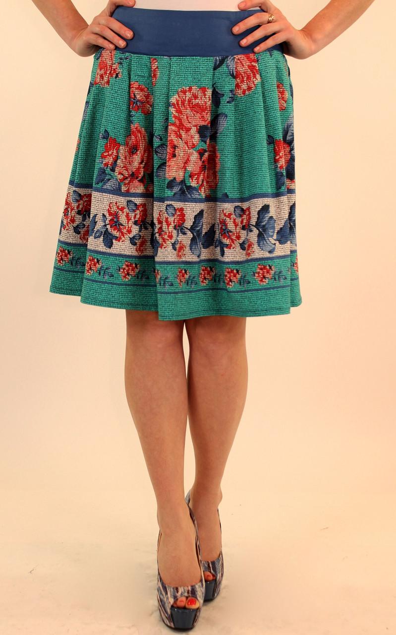 Летняя юбка с цветочным принтом 42-48 р