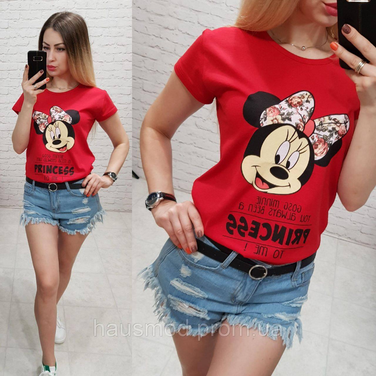 Женская футболка летняя рисунок Princess качество турция 100% катон цвет красный