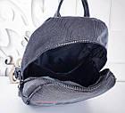 Женский рюкзак черного цвета, полиэстер+люрекс+напыление+эко-кожа, под бренд, фото 6