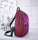 Женский рюкзак красного цвета, полиэстер+люрекс+напыление+эко-кожа, под бренд, фото 3