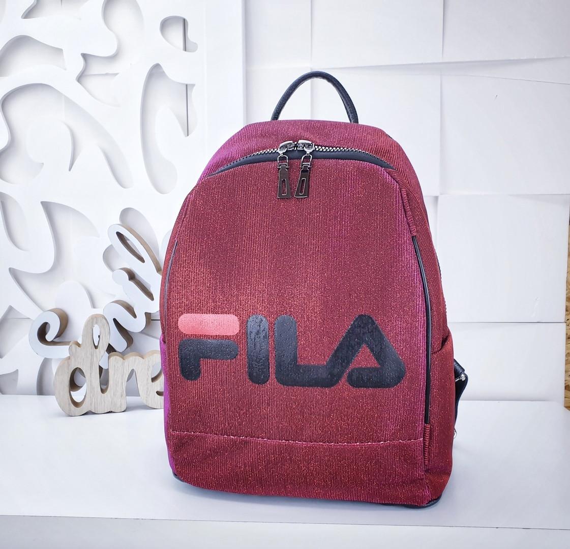 Женский рюкзак красного цвета, полиэстер+люрекс+напыление+эко-кожа, под бренд