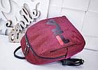 Женский рюкзак красного цвета, полиэстер+люрекс+напыление+эко-кожа, под бренд, фото 5