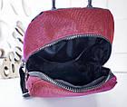 Женский рюкзак красного цвета, полиэстер+люрекс+напыление+эко-кожа, под бренд, фото 6