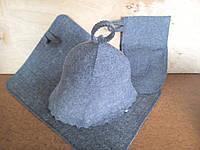 "Набор банный шапка, коврик, рукавица ""Серый""V3"