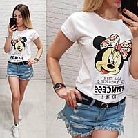 Женская футболка летняя рисунок Princess качество турция 100% катон цвет белый, фото 1