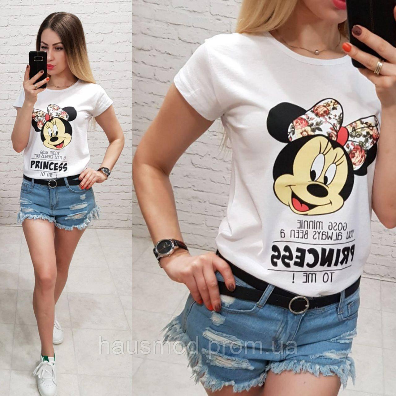 Женская футболка летняя рисунок Princess качество турция 100% катон цвет белый
