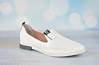 Белые летние женские кожаные туфли Aquamarin