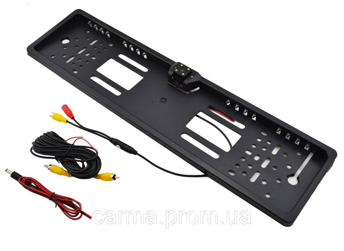 Камера заднего вида в рамке для номера авто и с LED подсветкой UKC H88