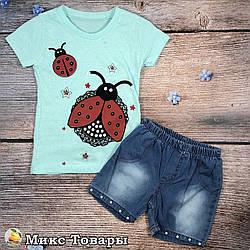 Мятная футболка и джинсовые шорты для девочки Размеры: 1,2,3,4 года (8629-3)