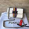 Крутая кожаная сумочка Pinko черный белый