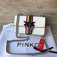 Крутая кожаная сумочка Pinko черный белый , фото 1