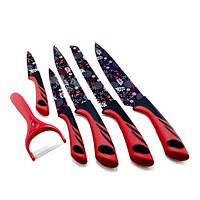 Набор ножей UNIQUE UN-1806 5+1 красный