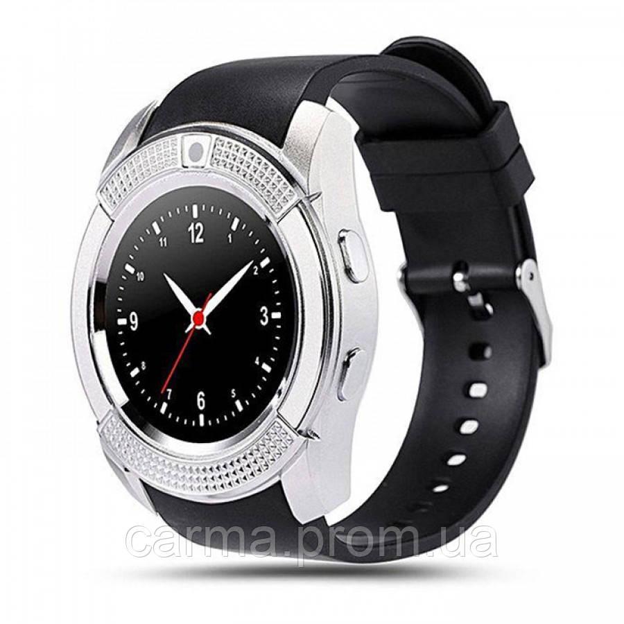 Смарт-часы умные Smart Watch V8 Черные с серебристым