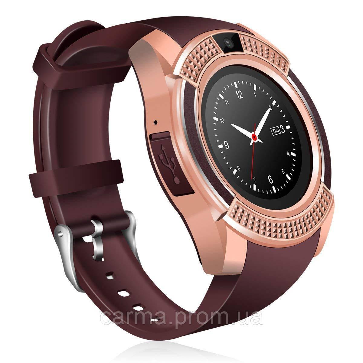 Смарт-часы умные Smart Watch V8 Коричневые