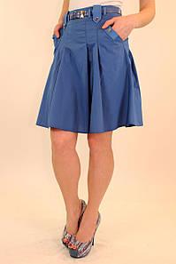 Летняя юбка в складку 42-48 р ( бирюзовый, электрик )