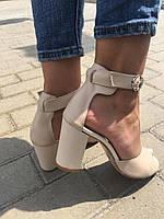 Женские бежевые босоножки на устойчивом каблуке, натуральная кожа