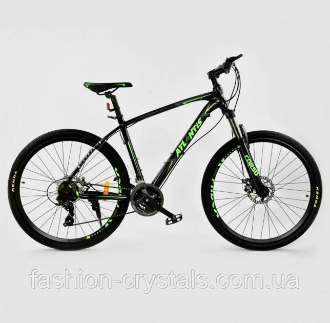 Спортивный велосипед Corso Atlantis 27.5  дюймов черный с салатовым