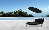 Круглий пляжний/садовий лежак-шезлонг з зонтом, фото 1