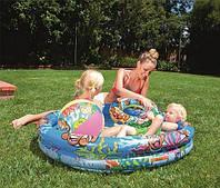 """Бассейн детский надувной """"Подводный мир"""" Bestway 51124, 122-20 см, 2 кольца, круг, мяч, ремкомплект"""