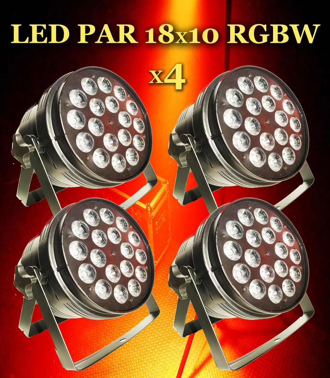 Комплект заливочных концертных прожекторов Led Par 18x10 RGBW 4in1