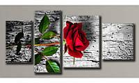 """Модульная картина на холсте """"Красная роза 3"""" для интерьера"""