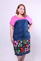 Женское летнее платье батальное с цветами 48-60р.