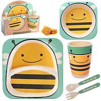 Набор детской посуды бамбуковой пчелка, 5 предметов