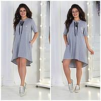 Стильное летнее платье туника футболка свободное больших размеров серое меланж р.50-52, 54-56