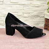 Туфлі замшеві з відкритим носком, на невисокому стійкому каблуці, фото 3