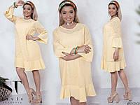 Женское стильное платье №7084 (р.48-54) лимонный, фото 1