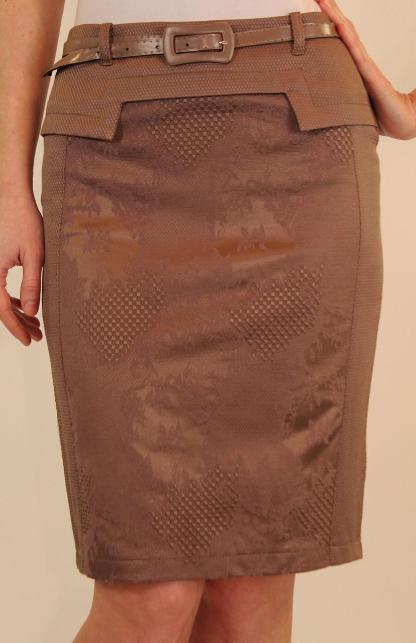 Бежевая юбка карандаш из жаккарда 42-48 р