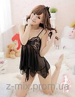 Сексуальный пеньюар и стринги, цвет черный №68