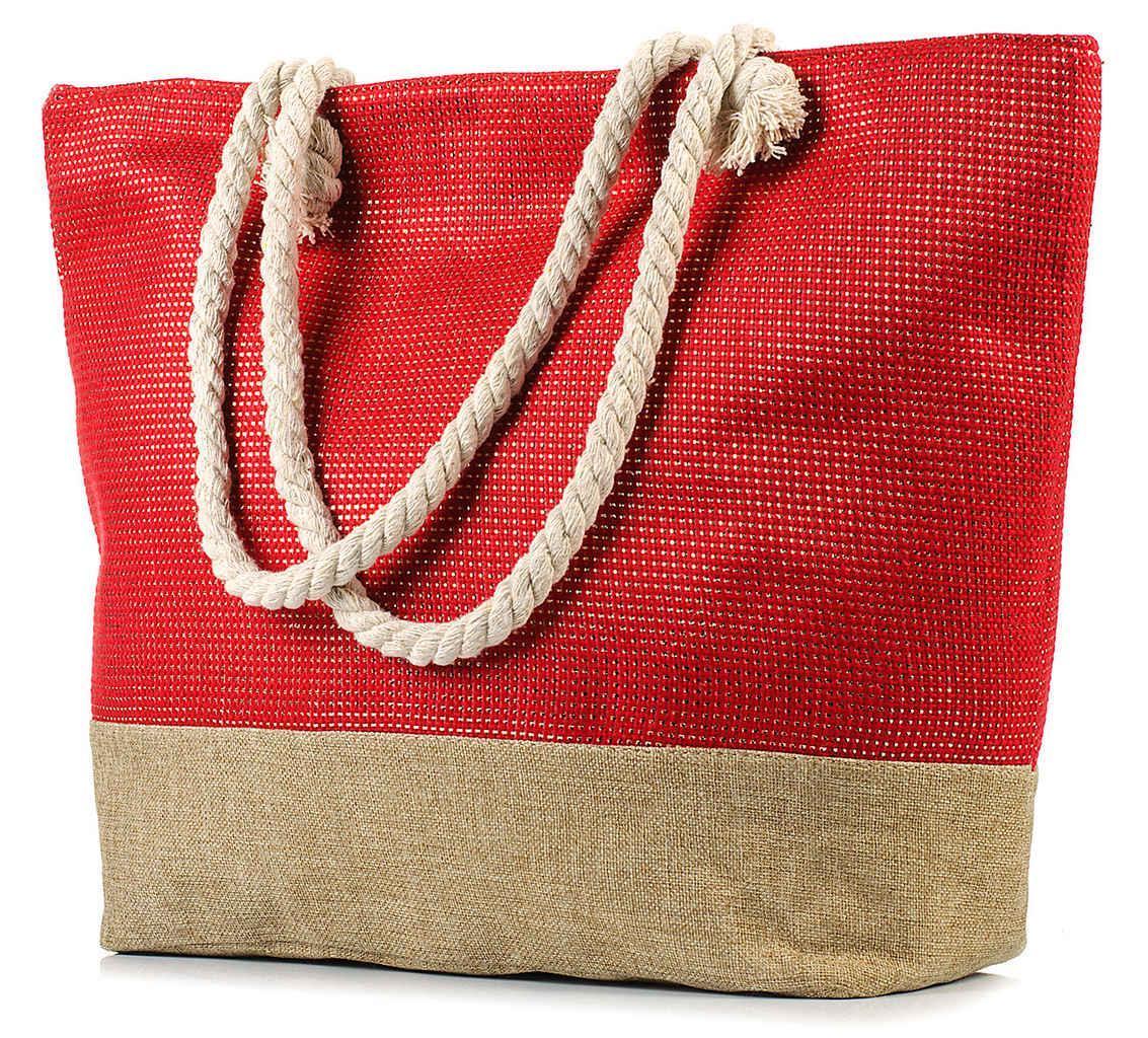 Женская пляжная сумка с канатными ручками BR-S красная (967568022)