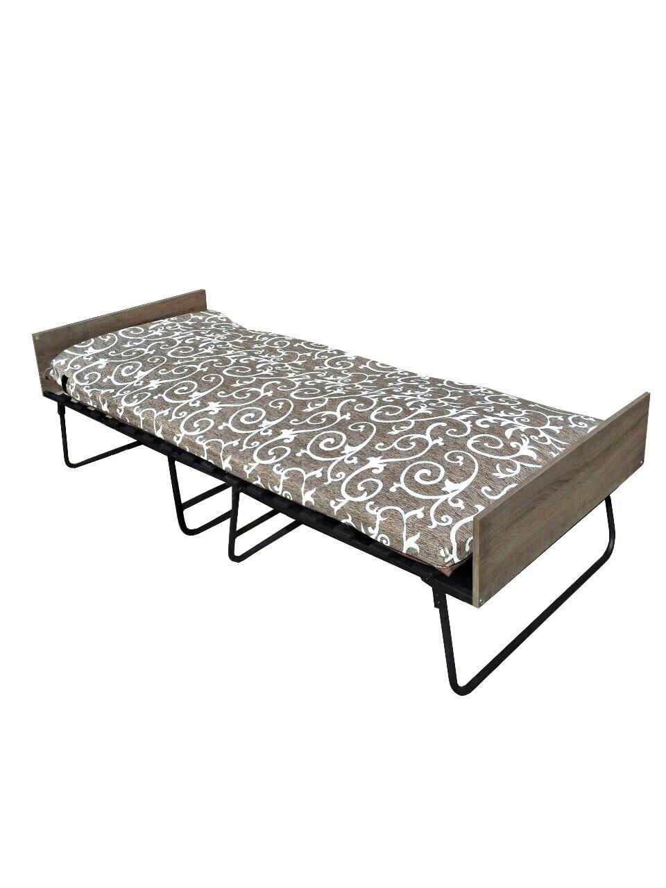 Раскладушка кровать на ламелях с матрасом и двумя подголовниками Белла