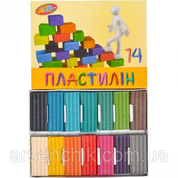 """Пластилин 250 г """"Колорит-тон"""" 14 цветов"""