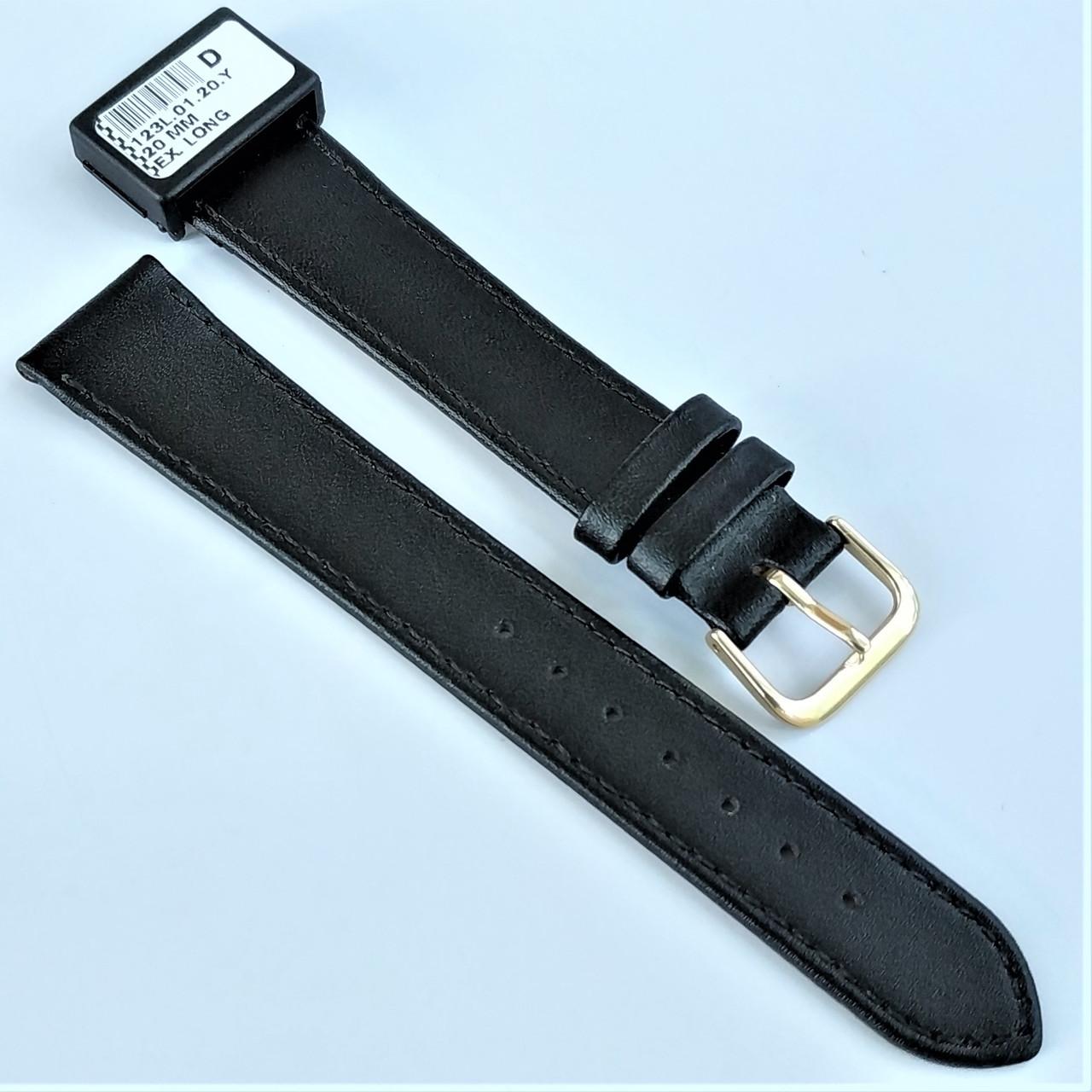 20 мм Кожаный Ремешок для часов CONDOR 123L.20.01 Черный Ремешок на часы из Натуральной кожи удлиненный