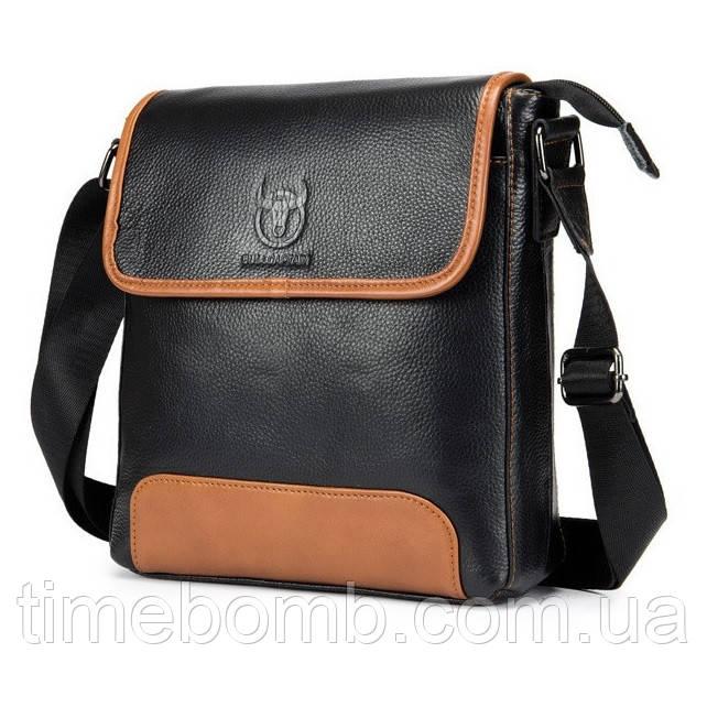 Мужская кожаная наплечная сумка BullCaptain Combi черная 073