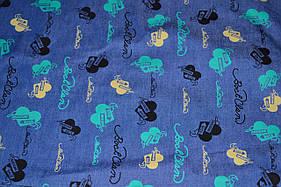 Ткань джинс стрейч синий с принтом