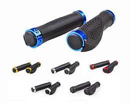 Грипсы / вело ручки с резиновой цепкой накаткой 22.2 мм/ с площадкой для отдыха кисти/ два алю замка/ заглушки