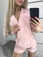 Женский стильный комбинезон с шортами №7091 (р.42-48) пудра, фото 1